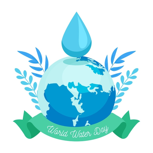 World water day illustration with planet and water drop Free Vector