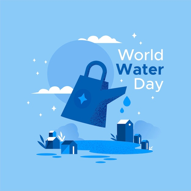 World water day illustration with watering can and village Free Vector