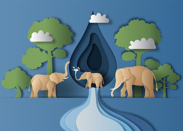 World water day, a landscape of elephant family with water drop and trees background, paper illustration. Premium Vector