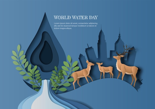 World water day, save water, a deer family with water drop and city background, paper illustration and  paper. Premium Vector
