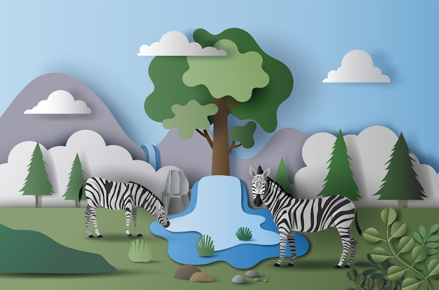 World water day, save water, a landscape of zebra couple in the wild, paper illustration, and  paper. Premium Vector
