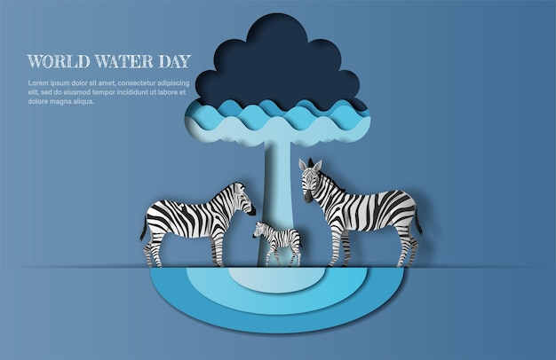 World water day, save water, a zebra family with tree and water wave icon, paper illustration. Premium Vector