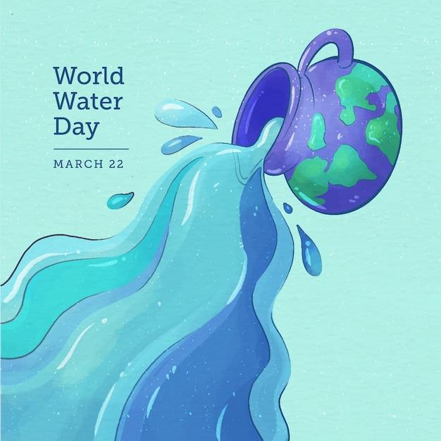 Acquerello di giornata mondiale dell'acqua Vettore gratuito