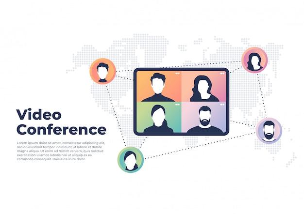 世界的なビデオ会議のコンセプト。ビデオ会議およびオンライン会議バナー。 Premiumベクター