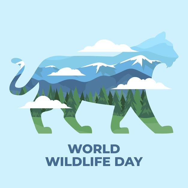 山と虎と世界野生生物の日のイラスト 無料ベクター