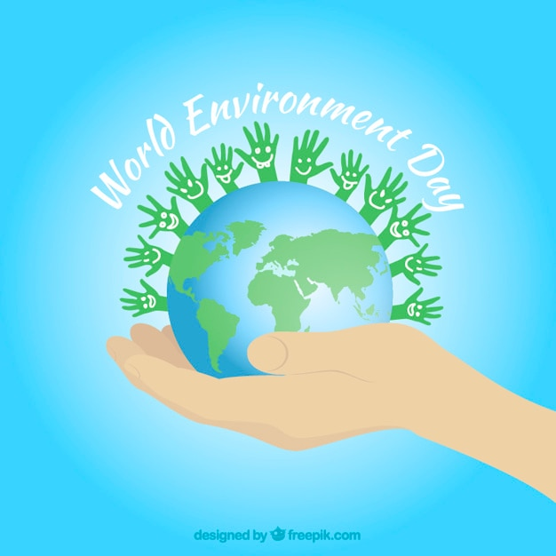 World with green hands background Free Vector
