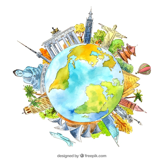 World with landmarks background in watercolor style Free Vector