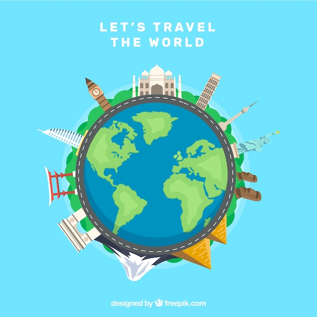 World with landmarks in flat style Free Vector