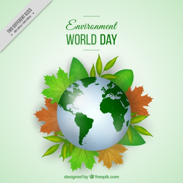 World with leaves environment day background Free Vector