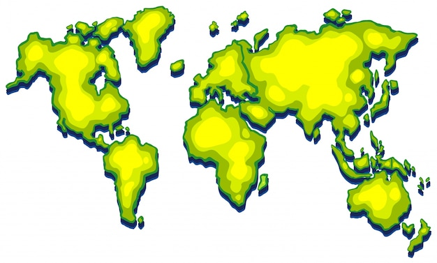 worldmap with green land on white background free vector