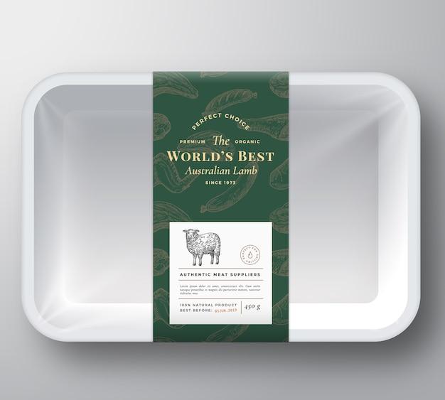 세계 최고의 양고기 추상적 인 벡터 플라스틱 트레이 컨테이너 커버 무료 벡터