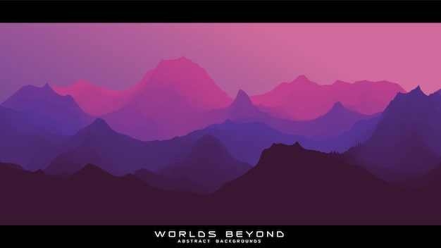 Worlds beyond abstract landscape Free Vector