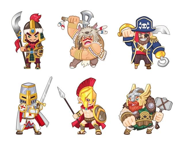 전세계 고대 전사 일러스트 세트 [중국 군인, 아메리칸 인디언, 해적, 기사단 기사, 스파르타, 바이킹] 프리미엄 벡터