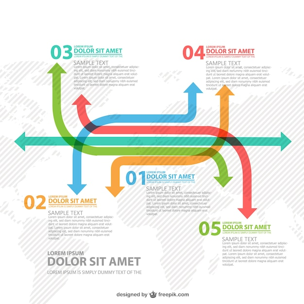 Worldwide arrows infographic Free Vector