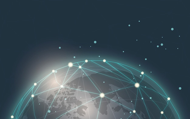 Worldwide connection blue background illustration vector Free Vector