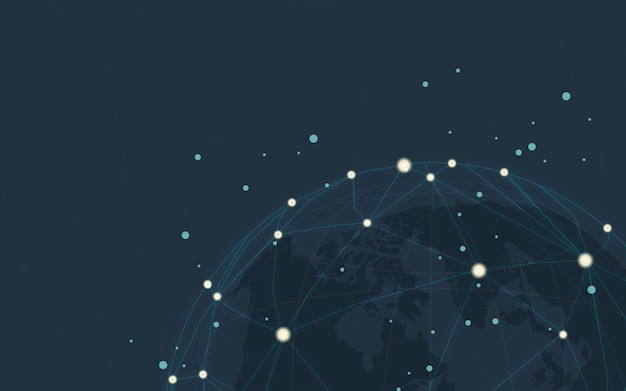 Всемирная связь синий фон векторные иллюстрации Бесплатные векторы
