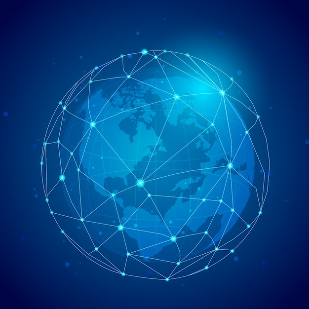 Worldwide connection blue background illustration Free Vector