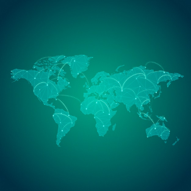 Worldwide connection green background illustration vector Free Vector