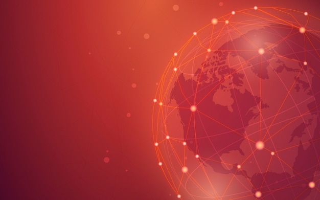 Worldwide connection red background illustration Free Vector