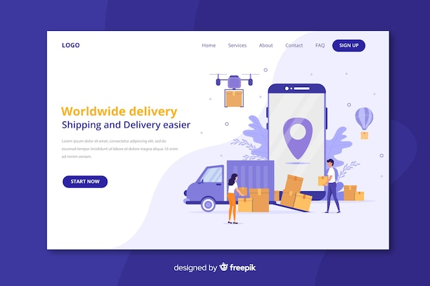 Worldwide delivery landing page Free Vector