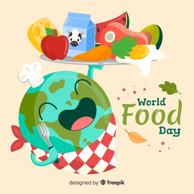Worldwide food day hand drawn Free Vector