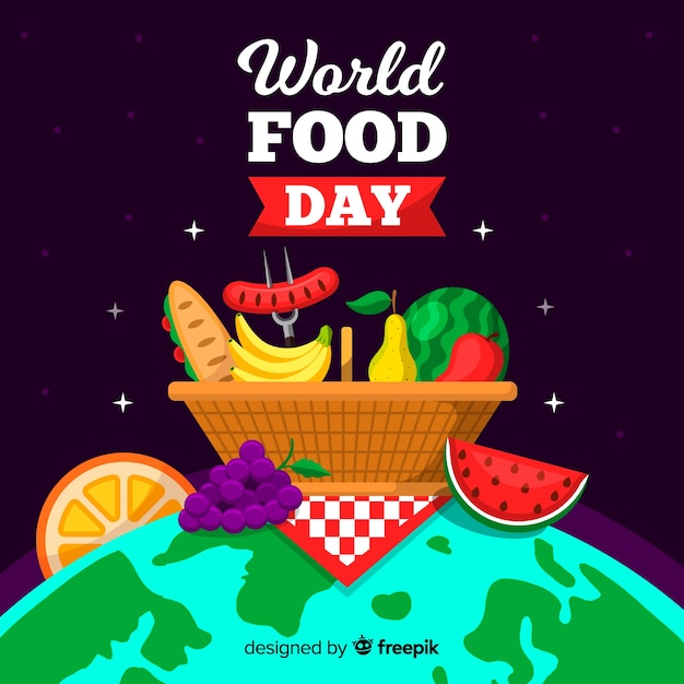 Worldwide food day picnic basket on the globe Free Vector
