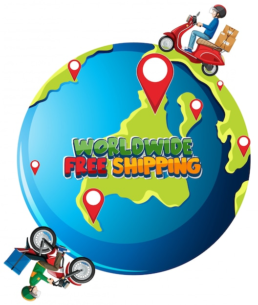 Worldwide free shipping logo with bike man or courier riding on the earth Free Vector
