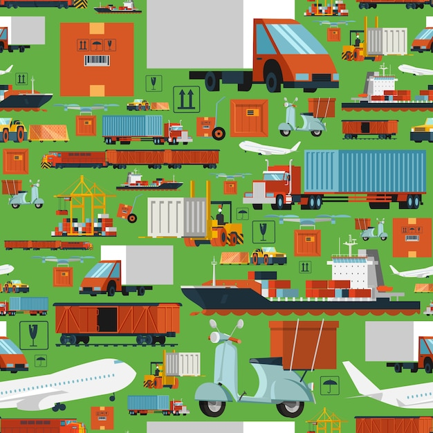 Worldwide logistic seamless pattern Free Vector