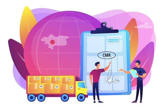 Иллюстрация договора логистики и дистрибьюции по всему миру Бесплатные векторы