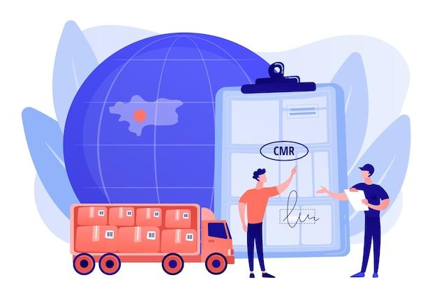 Контракт на логистику и дистрибуцию по всему миру. транспортные документы автомобильным транспортом, транспортный документ cmr, концепция регулирования международных перевозок. розовый коралловый синий вектор изолированных иллюстрация Бесплатные векторы