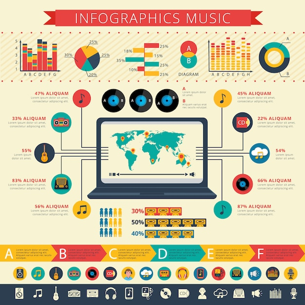 Worldwide nostalgic retro music apps users statistics map and schemas infographic Free Vector
