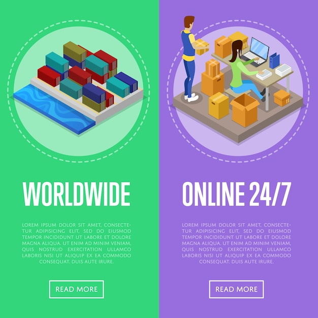 Worldwide shipping and delivery service banner web set Premium Vector