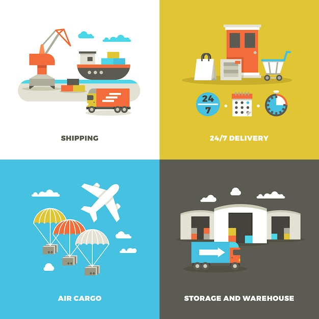 Worldwide shipping logistics and industrial warehouse Premium Vector