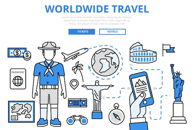 전세계 여행 휴가 휴가 랜드 마크 관광 비행기 티켓 예약 개념 플랫 라인 아트 아이콘. 무료 벡터