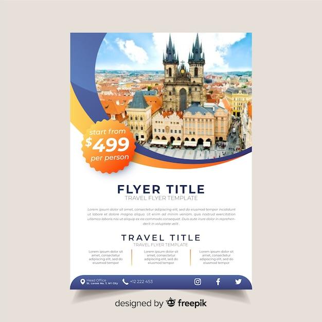 Worldwilde informative flyer template Free Vector