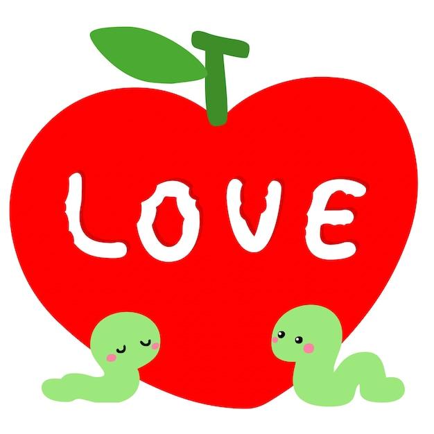 빨간 사과 벡터와 사랑에 벌레 프리미엄 벡터