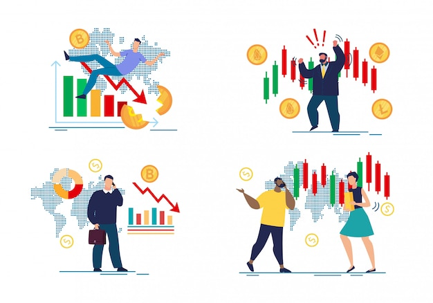 Premium Vector | Worried angry traders and forex crush cartoon set