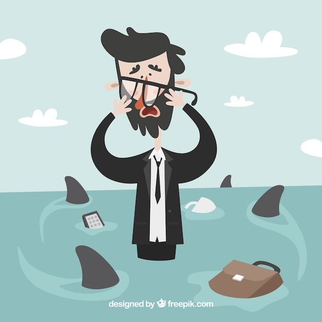 Worried businessman surrounded by sharks Free Vector