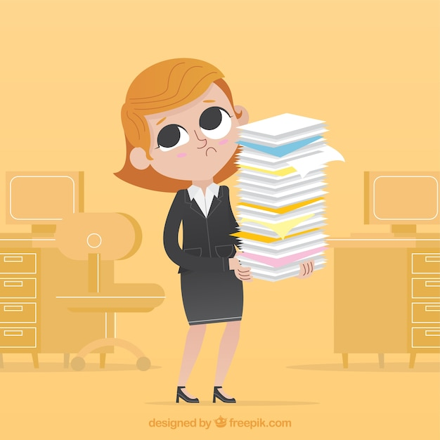Worried businesswoman with lots of documents Free Vector