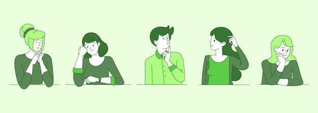 Worried, confused people cartoon contour illustrations. young guys, girls in doubt, searching solution, making decision outline characters in green color. upset women and men thinking with unsure face Premium Vector