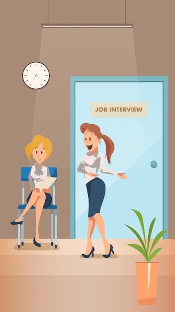 Worried woman wait for job interview in corridor Premium Vector