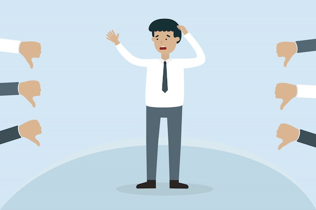 Worry businessman with dislike hand Premium Vector