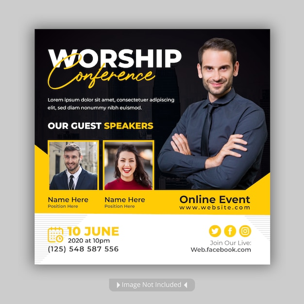 Worship conference social media event post Premium Vector