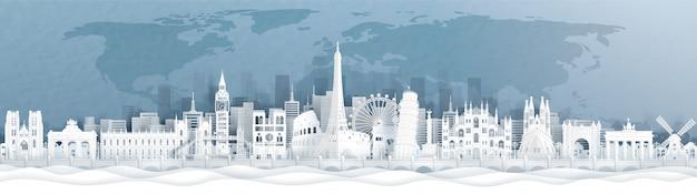 Would famous landmark with europe landmark Premium Vector