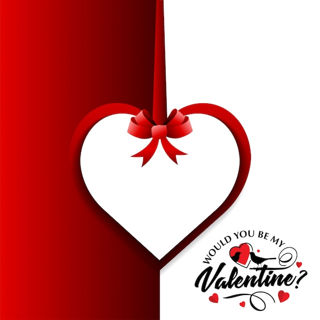 Would You Be My Valentine S Card With Red And White Background