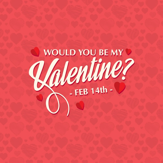 would you be my valentine s stylish card pattern vector free download