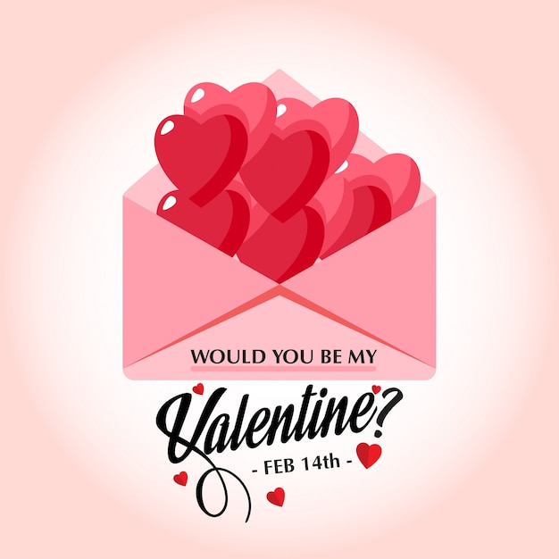 Would You Be My Valentineu0027s Stylish Vector Card Free Vector