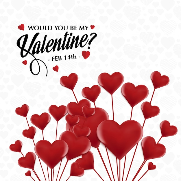 Perfekt Would You Be My Valentineu0027s With Red Hearts Free Vector