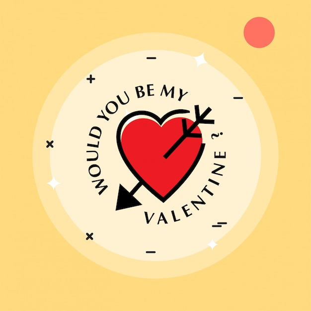 Would You Be My Valentineu0027s With Yellow Background And Heart Free Vector