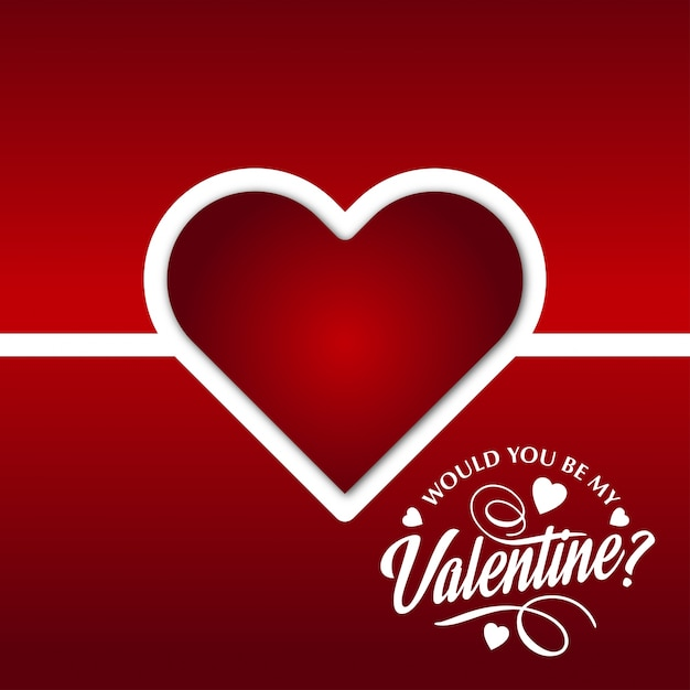 Would You Be My Valentine With Red Background And Heart Free Vector